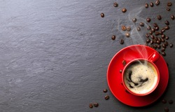 coffee cup background with coffee beans