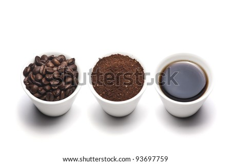 Coffee cup, beans and ground coffee