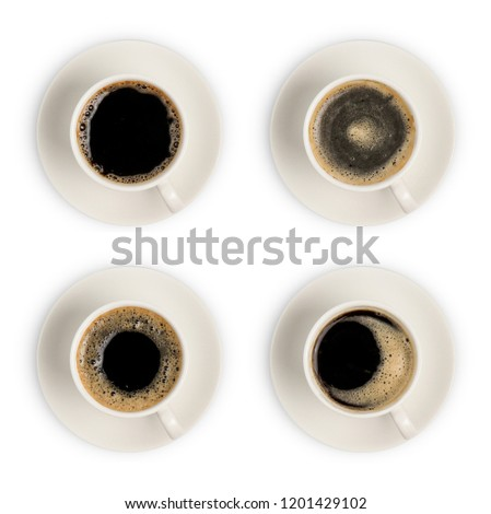 coffee cup. black coffee cup. coffee cup assortment top view collection isolated on white background. above of coffee cup. #1201429102