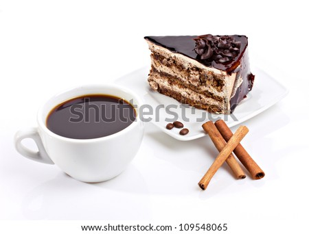 coffee cup, chocolate cake and cinnamon sticks on white background