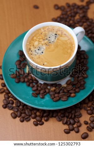 Coffee cup, focus on cup