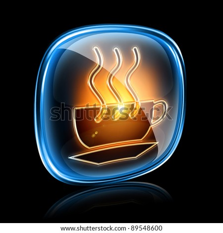 Coffee cup icon neon, isolated on black background