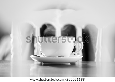 Coffee cup in coffee shop-black and white style pictures