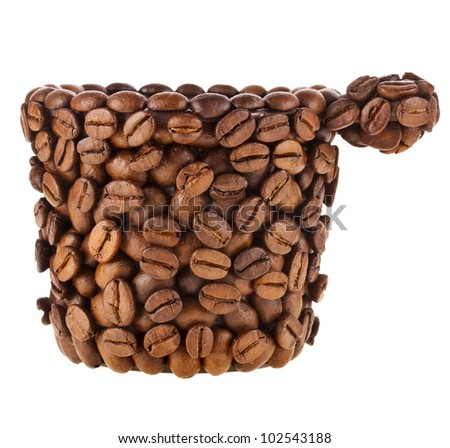 Coffee cup made of coffee beans isolated on white background