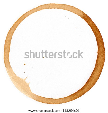 Coffee cup mark on white - stock photo