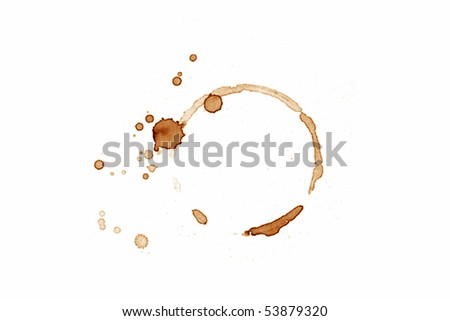 Coffee cup mark on white