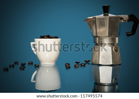 coffee, cup of coffee and coffee beans