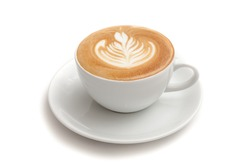 Coffee cup of rosetta latte art on white background isolated