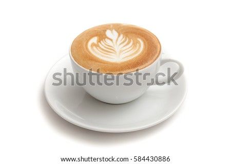 Coffee cup of rosetta latte art on white background isolated #584430886