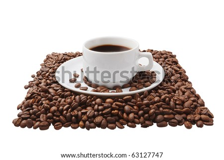 Coffee cup on beans. Isolated on white