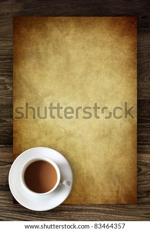 coffee cup on blank vintage paper