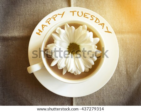 coffee cup on table with white daisy - Happy Tuesday word vintage style #437279314
