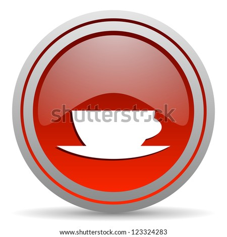 coffee cup red glossy icon on white background