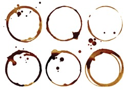 Coffee cup rings isolated on a white background