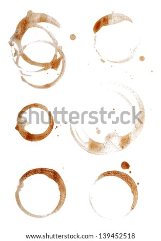 Coffee Cup Rings Isolated on White.
