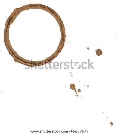 Coffee cup stains and splashes, isolated on white