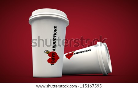 coffee cup take away isolated on red background