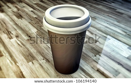 coffee cup take away on wooden floor