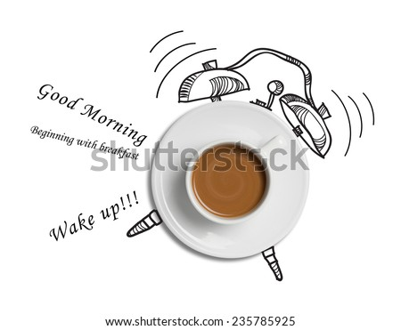 coffee cup time clock concept design background  #235785925