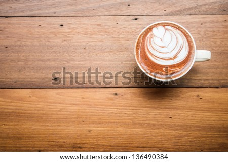 Coffee Cup Top View On Old Wooden