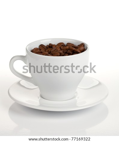 Coffee cup with beans. On white background