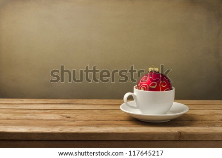Coffee Cup With Christmas Decorations On Wooden Table Stock Photo ...