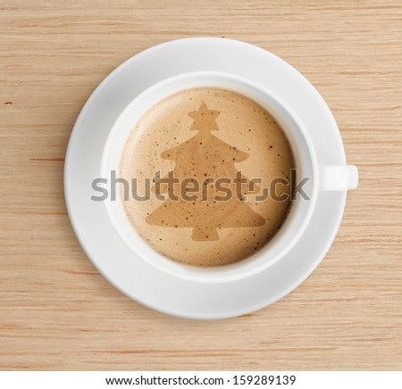 Coffee Cup With Christmas Tree Shape On Foam