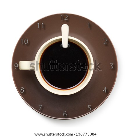 Coffee cup with clock.