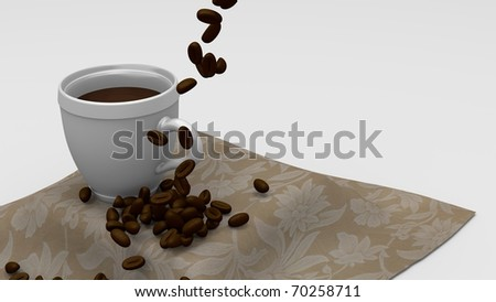 Coffee cup with Coffee beans pouring onto soft table cloth