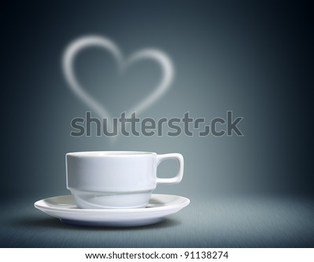 Coffee cup with heart shaped white smoke