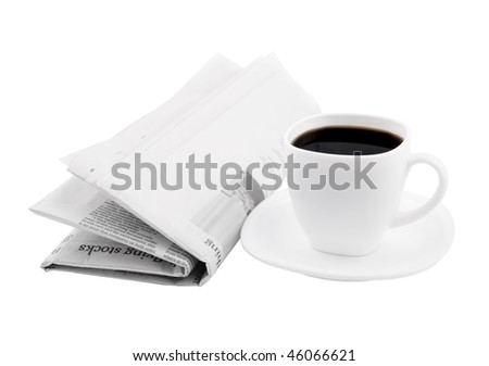 Coffee cup with newspaper isolated on white