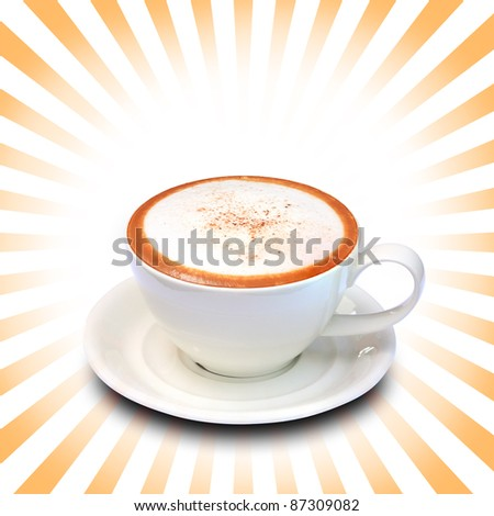 coffee cup with ray of light background.