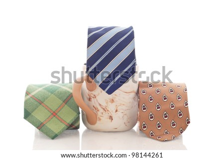 Coffee Cup with Three Mens Business Ties