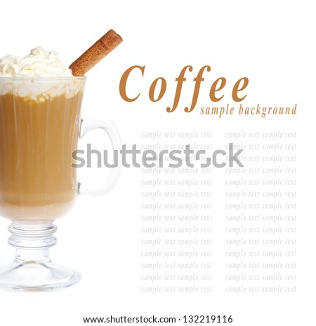 Coffee cup with whipped cream an cinnamon isolated on white background