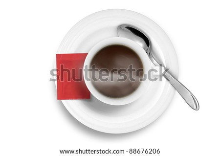 Coffee cup without smoke and red sugar bag