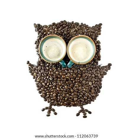 Coffee cups and Coffee beans Shaped like the Owl
