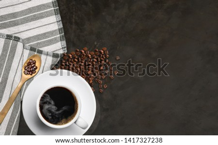 Coffee cups and nuts on the table Top view with copyspace for your messages