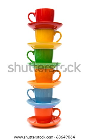 coffee cups and saucers on a white background