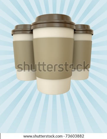 Coffee cups with rays - poster template with copyspace. 3D render