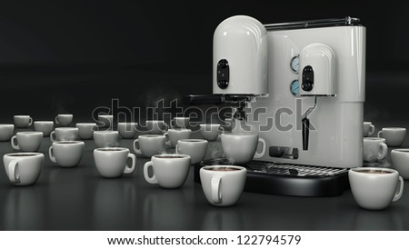 Coffee cups with white