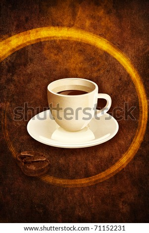 Coffee espresso cup on grunge browm background. Illustration bitmap image.