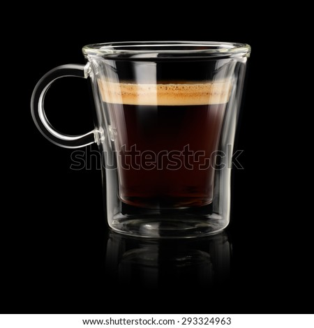 Coffee espresso doppio or lungo in transparent cup on black background #293324963