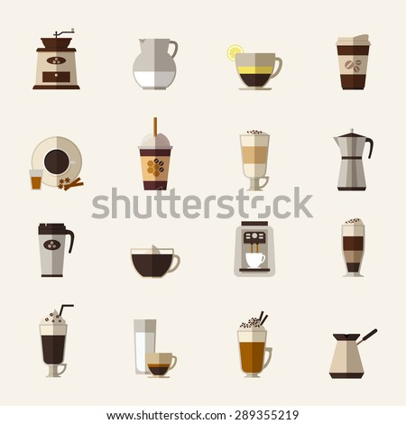 Coffee Cup Flat Icon Coffee Flat Icons Set