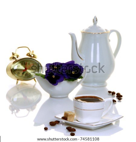 Coffee, flowers, coffee maker and clock isolated on white background.