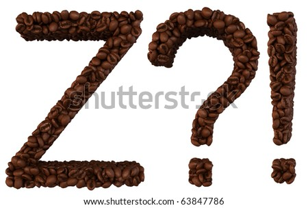 Coffee font Z and wow, What symbols isolated over white