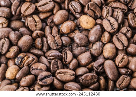 Coffee grilled brown beans, for backgrounds or textures Row material food drink backdrop