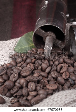 coffee grinder on coffee beans close up