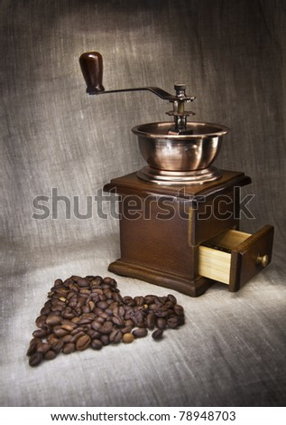 Coffee grinder with beans