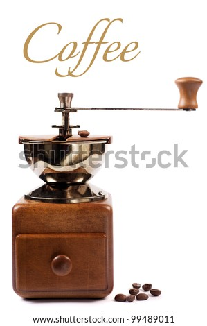 coffee grinder with coffee beans on a white background