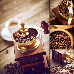 Coffee grinder with coffee beans. Vintage still life